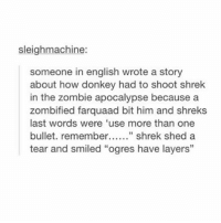 "Donkey, Memes, and Shrek: sleighmachine:  someone in english wrote a story  about how donkey had to shoot shrek  in the zombie apocalypse because a  zombified farquaad bit him and shreks  last words were 'use more than one  bullet. remembe.. shrek shed a  tear and smiled ""ogres have layers"" Sad"