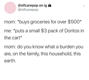 Household: @slfcarepop on ig  @islfcarepop  mom: *buys groceries for over $500*  me: *puts a small $3 pack of Doritos in  the cart*  mom: do you know what a burden you  are, on the family, this household, this  earth