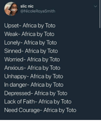 Africa, Humans of Tumblr, and Courage: slic nic  NicoleRoyaSmith  Upset- Africa by Toto  Weak- Africa by Toto  Lonely- Africa by Toto  Sinned- Africa by Toto  Worried- Africa by Toto  Anxious- Africa by Toto  Unhappy- Africa by Toto  In danger-Africa by Toto  Depressed- Africa by Toto  Lack of Faith- Africa by Toto  Need Courage- Africa by Toto