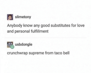 .: slimetony  Anybody know any good substitutes for love  and personal fulfillment  usbdongle  crunchwrap supreme from taco bell .