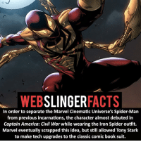 Captain America: Civil War, Memes, and Spider: SLINGER  FACTS  WEB  In order to separate the Marvel Cinematic Universe's Spider-Man  from previous incarnations, the character almost debuted in  Captain America: Civil War while wearing the lron Spider outfit.  Marvel eventually scrapped this idea, but still allowed Tony Stark  to make tech upgrades to the classic comic book Suit. ▲▲ - Would you like to see the Iron Spider suit in a future Spider-Man film?!- My other IG accounts @factsofflash @yourpoketrivia @facts_of_heroes ⠀⠀⠀⠀⠀⠀⠀⠀⠀⠀⠀⠀⠀⠀⠀⠀⠀⠀⠀⠀⠀⠀⠀⠀⠀⠀⠀⠀⠀⠀⠀⠀⠀⠀⠀⠀ ⠀⠀----------------------- spiderman peterparker tomholland marvelfacts spidermanfacts webslingerfacts venom carnage avengers xmen justiceleague marvel homecoming tobeymaguire andrewgarfield ironman spiderman2099 civilwar auntmay like gwenstacy maryjane deadpool miguelohara hobgoblin milesmorales like4like