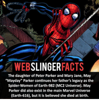 """Memes, Spider, and SpiderMan: SLINGER  FACTS  WEB  The daughter of Peter Parker and Mary Jane, May  """"Mayday"""" Parker continues her father's legacy as the  Spider-Women of Earth-982 (MC2 Universe). May  Parker did also exist in the main Marvel Universe  (Earth-616), but it is believed she died at birth. ▲▲ - Who is your favourite female superhero? - My other IG accounts @factsofflash @yourpoketrivia @facts_of_heroes ⠀⠀⠀⠀⠀⠀⠀⠀⠀⠀⠀⠀⠀⠀⠀⠀⠀⠀⠀⠀⠀⠀⠀⠀⠀⠀⠀⠀⠀⠀⠀⠀⠀⠀⠀⠀ ⠀⠀--------------------- spiderman peterparker tomholland marvelfacts spidermanfacts webslingerfacts venom carnage avengers xmen justiceleague marvel homecoming tobeymaguire andrewgarfield ironman spiderman2099 civilwar auntmay like gwenstacy maryjane deadpool miguelohara hobgoblin milesmorales like4like"""