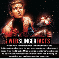 Memes, 🤖, and Xmen: SLINGER  FACTS  When Peter Parker returned to his world after the  Spider-Men's adventure, he was seen running an online search  to see if his world had a Miles Morales counterpart, and seems  to be shocked by what he discovered on the net. Nothing of  what that was has been revealed since then. ▲▲ - Miles and Peter! - My other IG accounts @factsofflash @yourpoketrivia @facts_of_heroes ⠀⠀⠀⠀⠀⠀⠀⠀⠀⠀⠀⠀⠀⠀⠀⠀⠀⠀⠀⠀⠀⠀⠀⠀⠀⠀⠀⠀⠀⠀⠀⠀⠀⠀⠀⠀ ⠀⠀----------------------- spiderman peterparker tomholland marvelfacts spidermanfacts webslingerfacts venom carnage avengers xmen justiceleague marvel homecoming tobeymaguire andrewgarfield ironman spiderman2099 civilwar auntmay like gwenstacy maryjane deadpool miguelohara hobgoblin milesmorales like4like
