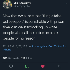 "Iphone, Police, and Twitter: Slip Knaughty  @nerdybyptw  VEGA  Now that we all see that ""filing a false  police report"" is punishable with prison  time, can we start locking up white  people who call the police on black  people for no reason  12:14 PM 2/23/19 from Los Angeles, CA Twitter for  iPhone  165 Retweets 514 Likes ALL IN FAVOR SAY AYE"