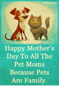 Happy Mother's Day week-end to the 2 and the 4 legged! Have a great week-end!: slln-gazing.com  Happy Mother's  Day To All The  Pet Moms  Because Pets  Are Family Happy Mother's Day week-end to the 2 and the 4 legged! Have a great week-end!