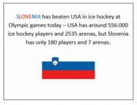 "Hockey, Tumblr, and Blog: SLOVENIA has beaten USA in ice hockey at  Olympic games today- USA has around 556.000  ice hockey players and 2535 arenas, but Slovenia  has only 180 players and 7 arenas.  崗 <p><a href=""http://awesomacious.tumblr.com/post/171287231477/david-vs-goliath"" class=""tumblr_blog"">awesomacious</a>:</p>  <blockquote><p>David vs Goliath</p></blockquote>"