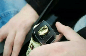 SLPT: You can use the metal part of your seat belt to open beer bottles while driving.: SLPT: You can use the metal part of your seat belt to open beer bottles while driving.