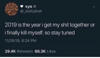 Shit, Tumblr, and Blog: @_sluttybrat  2019 is the year i get my shit together or  i finally kill myself. so stay tuned  11/26/18, 8:24 PM  29.4K Retweets 66.3K Likes wonderytho:  Meirl