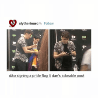 Best, Adorable, and Fandom: slytherinurdm Follow  Vidcon  vidcon  9a  VidCon  dcon  d&p signing a pride flag // dan's adorable pout best tv show ever?