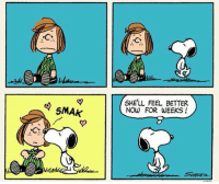 SMAK  SHE'LL FEEL BETTER  NOW FOR WEEKS! We all would feel better with a Snoopy kiss. 😚