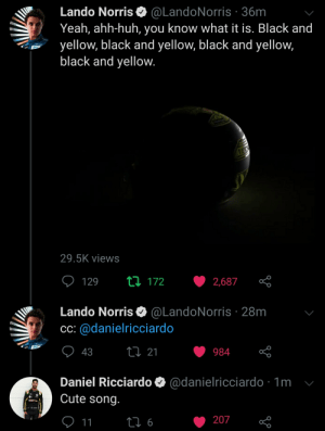 Small banter between Lando and Danny on Twitter: Small banter between Lando and Danny on Twitter