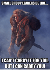 i cant: SMALL GROUP LEADERS BELIKE...  I CANT CARRY IT FOR YOU  BUT I CAN CARRY YOU!