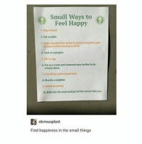 Memes, Neighbors, and Ocean: Small Ways to  Feel Happy  1 Hug a friend  2.Eata cookie  Light baseball baton fre&swing it aroundin your  badyaid while listening ta ACDC  4, look at penguin  5.Pet an egg  6. Put onaaown and command your motherto do  a funny dance  7.Pria of the perfectjewel heist  8 Wrestle a neighbor  9, outwit an enemy  10.Walkinto the ocean and just let the current take you  obviousplant  Find happiness in the small things Ok legit number 5