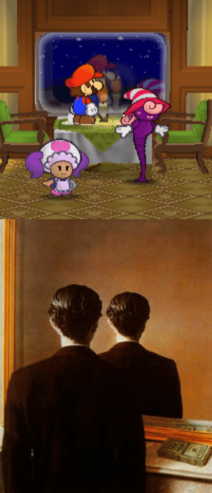 "smallmariofindings: In Paper Mario: The Thousand-Year Door, the windows on the Excess Express at night do not reflect Mario properly, as they simply draw another copy of the sprite on the other side of the window without turning it around to face the opposite direction as a normal reflective surface would. The effect resembles Rene Magritte's 1937 painting ""Not to Be Reproduced"" (right).Main Blog 