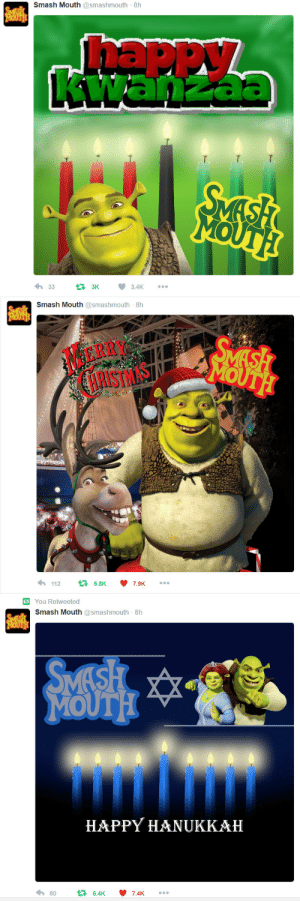 makomaragi:why is no one talking about Smash Mouth's twitter: Smash Mouth @smashmouth 8h  SVESH  MOUTH!  Thappy  awanzac  SMASH  MOUTH  3.4K  3K  33   Smash Mouth @smashmouth 8h  SMESH  MOUTH  SMASH  MOUTH  MERRY  HRISTMAS  112  16.8K  7.9K   You Retweeted  Smash Mouth @smashmouth 8h  SMESH  MOUTH  SMASH  MOUTH  HAPPY HANUKKAH  80  46.4K  7.4K makomaragi:why is no one talking about Smash Mouth's twitter