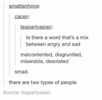 Word, Girl Memes, and Angry: smattenhove  cacen:  teapartyasian:  Is there a word that's a mix  between angry and sad  malcontented, disgruntled,  miserable, desolated  smad.  there are two types of people  Source: teapartyasian https://t.co/TPbPIPgjWQ