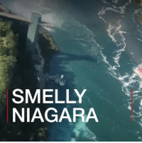 Memes, Black, and Niagara Falls: SMELLY  NIAGARA Tourists visiting Niagara Falls were shocked to see black, foul-smelling discharge spewing into the famous river. BBCNews instastory tourism sewage odour niagarafalls