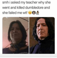Dumbledore, Memes, and Savage: smh i asked my teacher why she  went and killed dumbledore and  she failed me wtf Savage! 😂