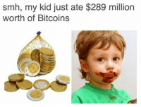 Smh, Bitcoins, and Kid: smh, my kid just ate $289 million  worth of Bitcoins