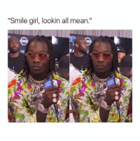"""Memes, Girl, and Happy: Smile girl, lookin all mean."""" This is my happy face 😐 goodgirlwithbadthoughts 💅🏼"""
