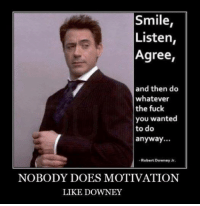 Robert Downey Jr: Smile  Listen  Agree,  and then do  whatever  the fuck  you wanted  to do  anyway...  Robert Downey Jr.  NOBODY DOES MOTIVATION  LIKE DOWNEY