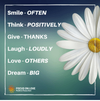 Positive Focus: Smile OFTEN  Think POSITIVELY  Give THANKS  Laugh LOUDLY  Love OTHERS  Dream BIG  FOCUS ON LOVE  Positive-Focus.com Positive Focus