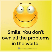 Memes, Good, and Happy: Smile. You don't  own all the problems  in the world  your Good NewsPage Remember these to be happy!