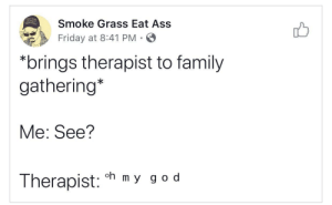 This took me out ????? by delukious MORE MEMES: Smoke Grass Eat Ass  Friday at 8:41 PM  *brings therapist to family  gathering*  Me: See?  oh m y g o d  Therapist: This took me out ????? by delukious MORE MEMES