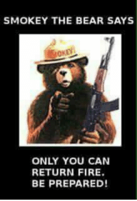 SMOKEY THE BEAR SAYS ONLY YOU CAN RETURN FIRE BE PREPARED ...