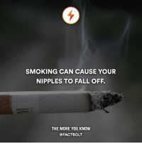 Memes, The More You Know, and 🤖: SMOKING CAN CAUSE YOUR  NIPPLES TO FALL OFF.  THE MORE YOU KNOW  @FACT BOLT The nicotine in cigarettes and the carbon monoxide contained in cigarette smoke can diminish blood flow to various parts of the body. These toxins act as a virtual tourniquet. If the blood flow to a particular body part becomes greatly reduced or halted, that body part dies. This usually happen to female smokers who do breast lifts. — Source: (sfgate) http:-bit.ly-smokenipple