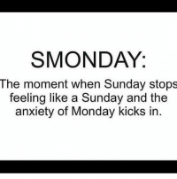 Happy SMonday ☺️🙌🏾: SMON DAY.  The moment when Sunday stops  feeling like a Sunday and the  anxiety of Monday kicks in Happy SMonday ☺️🙌🏾