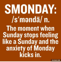 """And on Monday you're like: that's it?: SMONDAY:  ls""""mandal n  The moment when  Sunday stops feeling  like a Sunday and the  anxiety of Monday  kicks in.  VIA 9GAG.COM And on Monday you're like: that's it?"""