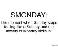 SMONDAY.: SMONDAY:  The moment when Sunday stops  feeling like a Sunday and the  anxiety of Monday kicks in  memess.com SMONDAY.