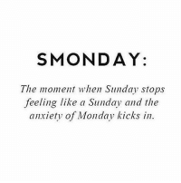 😩😩😩: SMONDAY:  The moment when Sunday stops  feeling like a Sunday and the  anxiety of Monday kicks in. 😩😩😩