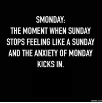 It's that depressing time of the week again...: SMONDAY  THE MOMENT WHEN SUNDAY  STOPS FEELING LIKE A SUNDAY  AND THE ANXIETY OF MONDAY  KICKS IN  memes.com It's that depressing time of the week again...