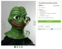 "smug: Smug Meme Frog Halloween Mask  $80.00  Only taaate  overvi  . Matera"" satex  ◆ Only shgs in Onted a tates home Memphis  * Faceted by 3 peope  This shop acaps Emy Git Cares  부 Fnoite Adetev"