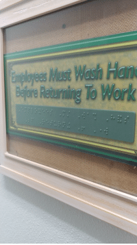 Local Subway Puts Braille Bathroom Sign Behind Glass: sMust Wash Han  Returning To Work Local Subway Puts Braille Bathroom Sign Behind Glass