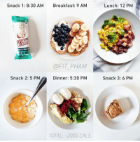 RT @Caloriesfixes: Today's MealDiary https://t.co/d832n6sfHh: Snack 1: 8:30 AM  Breakfast: 9 AM  Lunch: 12 PM  NUT PEANUT B  @FIT_PHAM  Snack 2: 5 PM  Dinner: 5:30 PM  Snack 3: 6 PM  TOTAL: ~2000 CALS RT @Caloriesfixes: Today's MealDiary https://t.co/d832n6sfHh