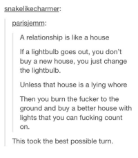 A relationship is like a house: snakelikecharmer  parisjemm:  A relationship is like a house  If a lightbulb goes out, you don't  buy a new house, you just change  the lightbulb.  Unless that house is a lying whore  Then you burn the fucker to the  ground and buy a better house with  lights that you can fucking count  on.  This took the best possible turn. A relationship is like a house