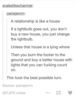 Unexpected: snakelikecharmer:  parisjemm:  A relationship is like a house  If a lightbulb goes out, you don't  buy a new house, you just change  the lightbulb.  Unless that house is a lying whore  Then you burn the fucker to the  ground and buy a better house with  lights that you can fucking count  on  This took the best possible turn  Source: parisjemm  327,672 notes Unexpected