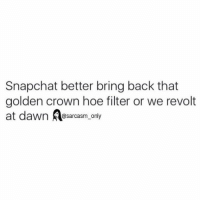 Funny, Hoe, and Hoes: Snapchat better bring back that  golden crown hoe filter or we revolt  at dawn  @sarcasm only ⠀