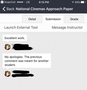 Snapchat, Work, and Tool: Snapchat ..o LTE  6:15 PM  69%  Back National Cinemas Approach Paper  Detail  Submission  Grade  Launch External Tool  Message Instructor  Excellent work.  4  My apologies. The previous  comment was meant for another  student. me irl