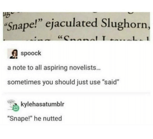 "srsfunny:  He busted: Snape!"" ejaculated Slughorn,  ""CnnnlL  1  spoock  a note to all aspiring novelists...  sometimes you should just use ""said""  kylehasatumblr  ""Snape!"" he nutted srsfunny:  He busted"