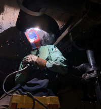 Snapped a pic of my coworker welding some steel pipe together!: Snapped a pic of my coworker welding some steel pipe together!