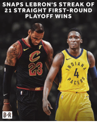 The Pacers took down LeBron in Game 1.: SNAPS LEBRON'S STREAK OF  21 STRAIGHT FIRST-ROUND  PLAYOFF WINS  1 A  23  CE  CAVS  B R The Pacers took down LeBron in Game 1.