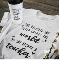 Teachers are more important than ever in creating positive change in the world. Believe in yourselves, you DO make a difference, and it all starts in the classroom! 🍎 Grab your ChangetheWorld t-shirt at BoredTeachers.com!: SNE ELIEYED,  SHE COVLD  CHANGE THE  ELIEVEDy  BECAME A  teackpv  SHE BELIEED SHE  COULD CHANGE THE  SO SHE BECAME A Teachers are more important than ever in creating positive change in the world. Believe in yourselves, you DO make a difference, and it all starts in the classroom! 🍎 Grab your ChangetheWorld t-shirt at BoredTeachers.com!