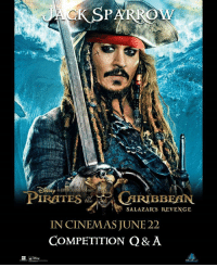 Friends, Memes, and Movies: SNE?  PIRATES iUIRIBBEAN  SALAZAR'S REVENGE  IN CINEMAS JUNE 22  COMPETITION Q& A Here's your chance to win tickets to see PIRATES OF THE CARIBBEAN 5 at @gclebanon Grand Cinemas with 6 of your friends!! Answer the question correctly and you'll be in the draw 👇 What is the main theme song for the Pirates of the Caribbean movies called? The winner will be chosen radomly and announced tomorrow in the comments below.