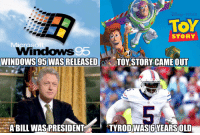 Last time the Buffalo Bills made the playoffs.. https://t.co/lRTLMRGpvp: SNE PIXAR  TOY  STORY  WINDOWS 95 WAS RELEASED  TOY STORY CAME OUT  ABILL WAS PRESIDENT  TYRODWAS6YEARSOLD Last time the Buffalo Bills made the playoffs.. https://t.co/lRTLMRGpvp