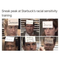 This will help: Sneak peak at Starbuck's racial sensitivity  training  ITALIAN  AMAICAN  JEWISH  MARTIN  LUTHER  KING JR  BLACK  AsIAN This will help