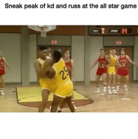 All Star, Funny, and True: Sneak peak of kd and russ at the all star game True 😂 (peek*)